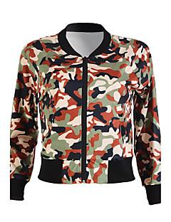 Langærmet Rund hals Damer Kort camouflage Forår Efterår Enkel Street I-byen-tøj Jakke,Polyester