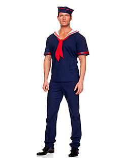 Cosplay Costumes Party Costume Police Sailor/Navy Career Costumes Festival/Holiday Halloween Costumes Blue Solid Top Pants Hat Tie