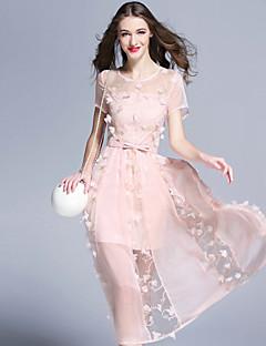 burdully Frauen netter Mantel dresssolid Rundhals knielangen kurze Ärmel rosa Ausgehen / weiß