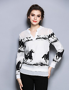 Women's Casual/Daily Simple Fall ShirtPrint V Neck Long Sleeve White Special Leather Types Medium