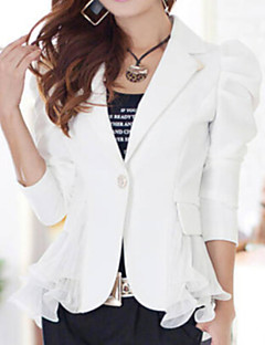 Women's OL Slim Solid Blazer , Casual/Work Peaked Lapel Long Sleeve Ruffle