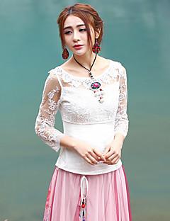 3/4 ærmelængde Rund hals Blank Kvinders Hvid Ensfarvet Forår / Efterår Sofistikerede I-byen-tøj T-shirt,Bomuld / Polyester