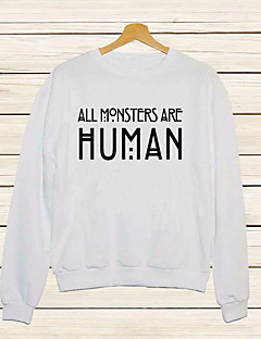 Women's Casual/Daily Simple Short Hoodies,Letter White / Black Round Neck Long Sleeve Others Spring / Fall Medium