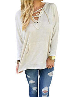 Women's Casual/Daily Simple Fall T-shirtSolid Hooded Long Sleeve Beige Linen Medium