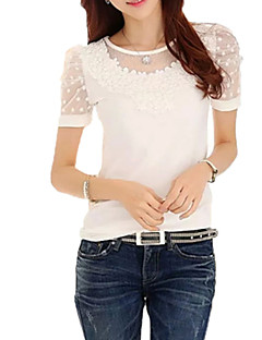 Women's Going out Simple / Street chic T-shirt,Jacquard Round Neck Short Sleeve White Cotton / Rayon Thin