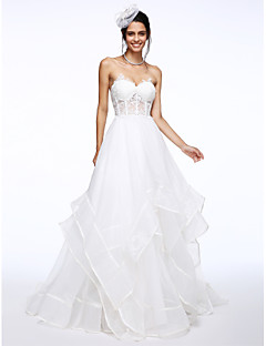 Lanting Bride® A-line Wedding Dress Court Train Sweetheart Organza with Appliques