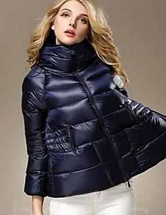 Damen Daunen Mantel,Kurz Einfach Lässig/Alltäglich Solide-Baumwolle Polypropylen Langarm Blau / Schwarz / Grün Ständer
