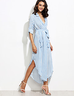 Women's Holiday Vintage Chiffon DressStriped Deep V Maxi Long Sleeve Blue Polyester Fall High Rise Inelastic Thin