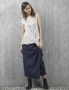 solide bleu skirtssimple maxi de rizhuo femmes