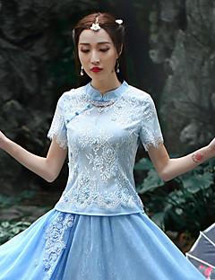 Damen Stickerei Chinoiserie Ausgehen T-shirt,Rundhalsausschnitt Sommer ½ Länge Ärmel Blau Polyester Mittel