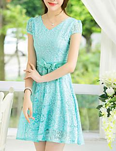 Women's Casual Party Micro Elastic Short Sleeve Knee Length Dress (Chiffon)