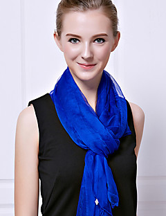 Women Summer Casual Chiffon Rectangle Solid Color Royal Blue Fresh Chiffon Silk Beach Towels Scarf Shawl