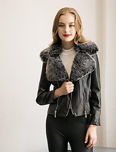 Women's Plus Size chic Fur CoatSolid Shirt Collar Long Sleeve Winter Blue / Yellow / Silver Faux Fur / PU Leather Jacket