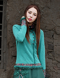 Our Story Going out Vintage Spring / Fall ShirtPaisley Round Neck Long Sleeve Green Cotton / Polyester / Spandex Medium