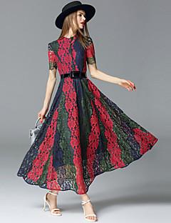 Damen Spitze Kleid-Ausgehen Anspruchsvoll Einfarbig Ständer Maxi Kurzarm Rot / Weiß Baumwolle / Polyester / Nylon Sommer Mittlere Hüfthöhe