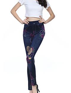 Women Shredded Denim Print Legging,Cotton Spandex