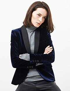 C+IMPRESS  Women's Work Vintage All Seasons BlazerSolid Shawl Lapel Long Sleeve Blue Polyester Opaque