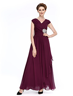 LAN TING BRIDE A-line Mother of the Bride Dress - Elegant Ankle-length Sleeveless Chiffon with Criss Cross Crystal Brooch Ruching