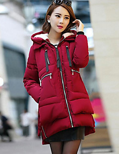 Women's Solid Red / Black / Green Padded CoatSimple Hooded Long Sleeve Winter Coat