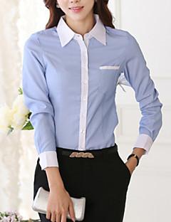Camicia Da donna Ufficio Taglie forti Primavera,Monocolore Colletto Poliestere Blu / Bianco Manica lunga Medio spessore