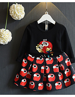 Girl's Casual/Daily Print Clothing SetCotton / Rayon Spring / Fall Black