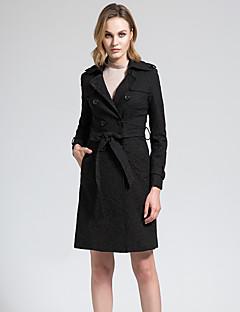 BORME® 여성 셔츠 카라 긴 소매 트렌치 코트 블랙 페이드-Y048