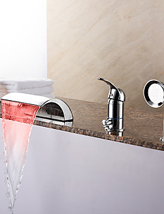 現代風 ローマンバスタブ LED / 滝状吐水タイプ / ハンドシャワーは含まれている with  セラミックバルブ シングルハンドル三穴 for  クロム , 浴槽用水栓