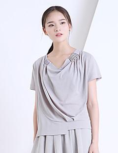 Yishidian® Damen Rundhalsausschnitt Kurze Ärmel T-Shirt Grau / Mandelfarben-YSD1438