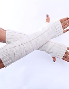 kvinders vinter uld strikning solid farve handsker