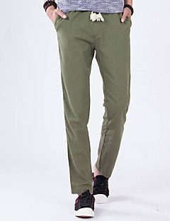 Men's Spring And Summer Thin Loose Linen Solid Color Casual  Straight Pants Sweatpants