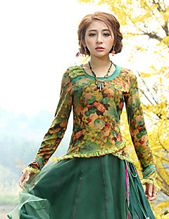 Vrouwen Vintage Lente / Herfst T-shirt,Uitgaan Bloemen Ronde hals Lange mouw Geel Katoen / Polyester / Spandex Medium
