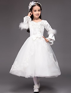 Ball Gown Tea-length Flower Girl Dress - Satin / Tulle Long Sleeve V-neck with Appliques / Bow(s) / Sequins