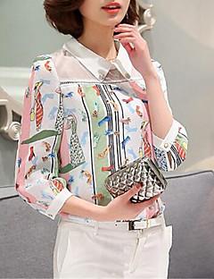 Langermet Bluse Skjortekrage Lapper Polyester Kvinner