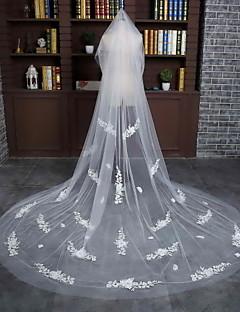 Véus de Noiva Uma Camada Véu Capela Corte da borda Tule / Renda Marfim