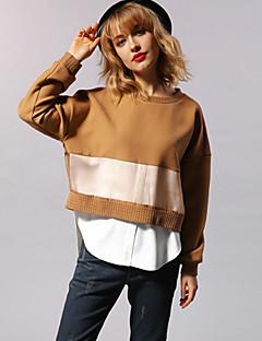 Damen Pullover Lässig/Alltäglich Einfach Einfarbig Rundhalsausschnitt Mikro-elastisch Kunstseide Polyester Elasthan LangarmFrühling