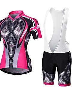 MALCIKLO® Camisa com Bermuda Bretelle Mulheres / Homens Manga Curta MotoRespirável / Secagem Rápida / Zíper Frontal / Vestível / Alta