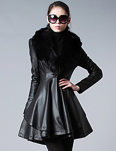 Women's Casual/Daily Street chic Fur Coat,Solid Notch Lapel Long Sleeve Winter Black PU Thick