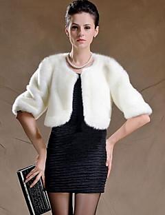 婦人向け カジュアル/普段着 / プラスサイズ 冬 ソリッド ファーコート,ストリートファッション ラウンドネック ホワイト / ブラック フェイクファー 長袖 厚手