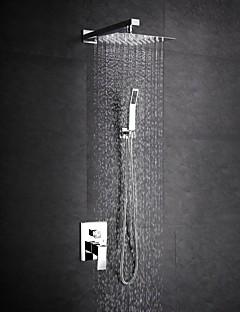 Zeitgenössisch Duschsystem Regendusche Breite spary Handdusche inklusive with  Keramisches Ventil Zwei Griffe Ein Loch for  Chrom ,