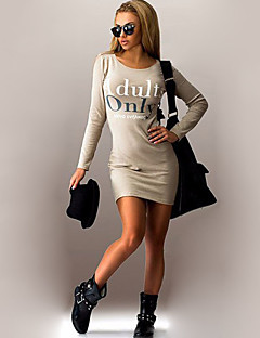 Women's Going out / Casual/Daily Sexy / Vintage / Simple Bodycon DressSolid / Letter Round Neck Above Knee