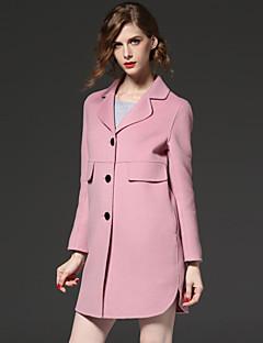 frmz vrouwen uitgaan eenvoudige coatsolid notch revers met lange mouwen herfst / winter roze wol / polyester medium