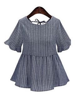 Mulheres Camisa Tamanhos Grandes Moda de Rua Verão,Listrado Azul / Branco Algodão Decote Redondo Manga Curta Fina