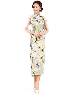 Klasszikus és hagyományos Lolita Szoknya Rövid ujjú Hosszú hossz Sárga Lolita ruha Selyem