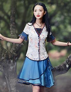 Feminino Camiseta Happy-Hour Chinoiserie Verão,Floral Azul Raiom / Náilon / Elastano Sem Alças Manga Curta Média