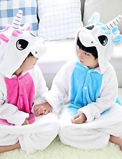 Kigurumi פיג'מות Unicorn /סרבל תינוקותבגד גוף פסטיבל/חג הלבשת בעלי חיים Halloween ורוד / כחול טלאים פלנל Kigurumi ל ילדהאלווין (ליל כל