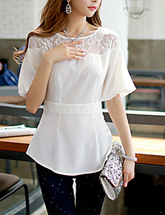 Kortærmet Rund hals Tynd Kvinders Hvid Ensfarvet Sommer Simpel Casual/hverdag Skjorte,Polyester / Spandex