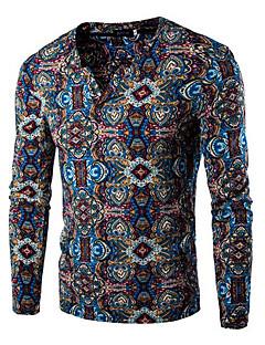 Men's Print Casual / Sport T-ShirtCotton Long Sleeve-Blue / Purple / Red