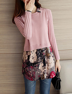 Women's Going out / Casual/Daily Cute Long PulloverPatchwork Shirt Collar Long Sleeve Fall / Winter
