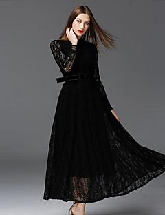 frmz Frauenarbeit Jahrgang dresssolid maxi lange Ärmel schwarz Baumwolle / Polyester / Nylon stehen