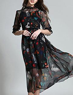 Dámské Jednoduché Běžné/Denní Pouzdro Šaty Zvířecí potisk,Poloviční délka rukávu Stojáček Midi Černá Polyester Podzim High Rise